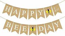 Rainlemon Jute Sackleine Happy 1st Bee Day Banner