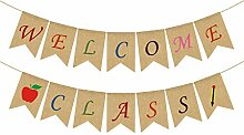 Rainlemon Jute Sackleine Welcome Class Banner Back
