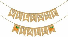 Rainlemon Jute Sackleine Welcome Fall Banner mit
