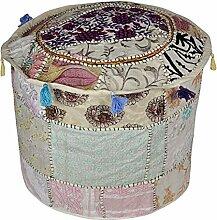 Rajasthani Wunderschöne Stickerei Design Baumwolle Patchwork Pouf osmanischen