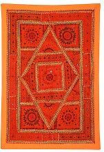 Rajrang Antik - im dischen Stil - Wandbehang Baumwolle Orange Wandbehang, Wanddeko Dekoration