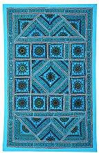 RAJRANG Antik Wandbehang Handarbeit Turquoise