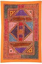 Rajrang Antik Wandbehang, Wanddeko Handarbeit Baumwolle Orange Dekoration