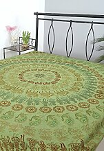 Rajrang Bestickte Tagesdecke Baumwolle grün Pfau
