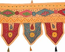 Rajrang Bestickter Türaufhänger, Türdekoration - zum aufhängen - Handarbeit Baumwolle Pfirsich Toran
