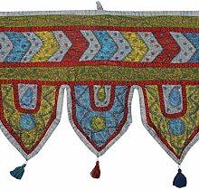 Rajrang Bestickter Türaufhänger, Türdekoration - zum aufhängen - Handarbeit Baumwolle Gray Toran