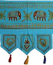 Rajrang Bestickter Türaufhänger, Türdekoration - zum aufhängen - Elefant Baumwolle Turquoise Toran