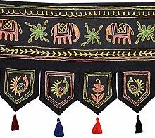 Rajrang bestickter Türaufhänger, Türdekoration - zum aufhängen - Elefant Baumwolle schwarz Toran