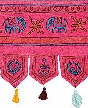 Rajrang Bestickter Türaufhänger, Türdekoration - zum aufhängen - Elefant Baumwolle Rosa Toran