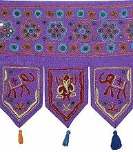 Rajrang Bestickter Türaufhänger, Türdekoration - zum aufhängen - Elefant Baumwolle Violet Toran