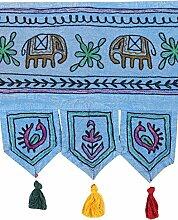 Rajrang Bestickter Türaufhänger, Türdekoration - zum aufhängen - Elefant Baumwolle blau Toran