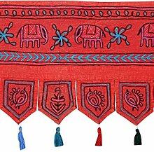 Rajrang Bestickter Türaufhänger, Türdekoration - zum aufhängen - Elefant Baumwolle rot Toran