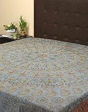 Rajrang Dekoration Bestickte Tagesdecke Baumwolle blau Floral Doppelzimmer Bettlaken