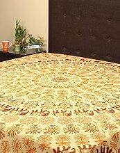 Rajrang Dekoration Bestickte Tagesdecke Baumwolle Cream Elefant Doppelzimmer Bettlaken