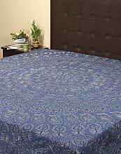 Rajrang Dekoration Bestickte Tagesdecke Baumwolle Grayish blau Floral Doppelzimmer Bettlaken