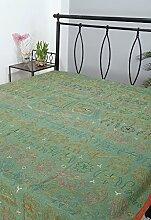 Rajrang Dekoration Bestickte Tagesdecke Baumwolle grün Elefant Doppelzimmer Bettlaken