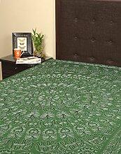Rajrang Dekoration Bestickte Tagesdecke Baumwolle grün Floral