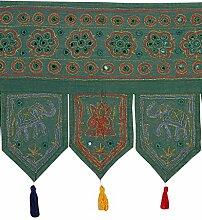 Rajrang Dekoration Bestickter Türaufhänger, Türdekoration - zum aufhängen - Elefant Baumwolle grün Toran