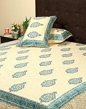 Rajrang Dekoration Hand Block - mit Druckmuster - Bettlaken Baumwolle Beige Paisley Doppelzimmer Bettlaken
