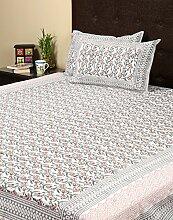Rajrang Dekoration Hand Block - mit Druckmuster - Bettlaken Baumwolle Weiß Floral Doppelzimmer Bettlaken