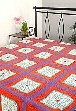 Rajrang Dekoration Handarbeit Tagesdecke Baumwolle MultiColor Doppelzimmer Bettlaken
