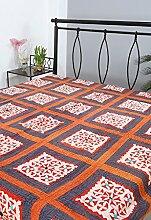 Rajrang Dekoration Handarbeit Tagesdecke Baumwolle Pfirsich Handarbeit Doppelzimmer Bettlaken