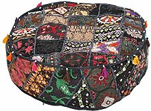 Rajrang Dekoration Hocker, Ottoman, Sitzsack - Handarbeit - schwarz Baumwolle Ezelstück Hocker