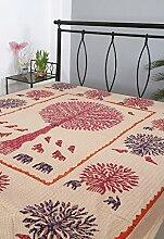Rajrang Dekoration Kantha Handarbeit Tagesdecke Baumwolle blau Tree Of Life Doppelzimmer Bettlaken