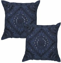 Rajrang Dekoration Kissenbezüge - mit Spiegeleffekt - Handarbeit blau Baumwolle Kissenbezug 2 St.
