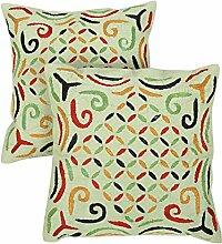 Rajrang Dekoration Kissenbezug Bestickt Pistachio grün Baumwolle Kissenbezug 2 St.