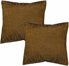 Rajrang Dekoration Kissenbezug Designer Garn gefärbt Braun Polydupion Kissenbezug 2 St.