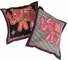 Rajrang Dekoration Kissenbezug Elefant Handarbeit Rosa Baumwolle Kissenbezug 2 St.