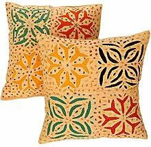 Rajrang Dekoration Kissenbezug Hand Bestickt Licht Orange Baumwolle Kissenbezug 2 St.