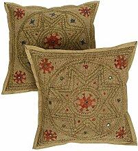 Rajrang Dekoration Kissenbezug - mit Spiegeleffekt - Handarbeit Baumwolle Kissenbezug 2 St.