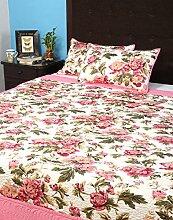 Rajrang Dekoration Mache Quilted Tagesdecke Baumwolle Weiß Floral Doppelzimmer Bettlaken