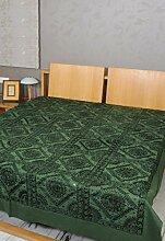 Rajrang Dekoration - mit Spiegeleffekt - Handarbeit Tagesdecke Baumwolle Doppelzimmer Bettlaken