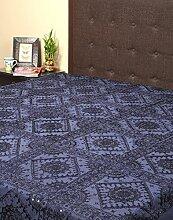 Rajrang Dekoration - mit Spiegeleffekt - Handarbeit Tagesdecke Baumwolle blau Doppelzimmer Bettlaken