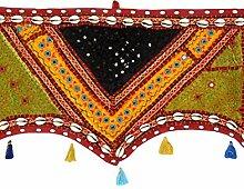 Rajrang Dekoration - mit Spiegeleffekt - Handarbeit Türaufhänger, Türdekoration - zum aufhängen - Handarbeit Baumwolle Toran