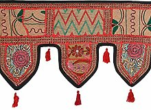 Rajrang Dekoration Spitzen Handarbeit Türaufhänger, Türdekoration - zum aufhängen - Handarbeit Baumwolle schwarz Toran