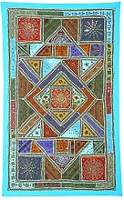 Rajrang Dekoration Wandbehang Baumwolle Turquoise Wandbehang, Wanddeko fürs Esszimmer