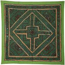 Rajrang Designer Baumwolle grün Wandbehang, Wanddeko Wandbehang Dekoration