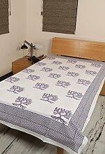 Rajrang Designer Bettlaken Baumwolle , Lila, Hand Block - mit Druckmuster - Tree Ezelne Tagesdecke