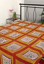 Rajrang Designer Handarbeit Tagesdecke Baumwolle ,