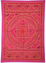 Rajrang Designer Wandbehang Handarbeit Rosa Wandbehang, Wanddeko Dekoration