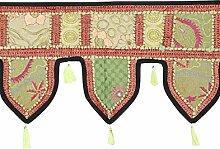 Rajrang Ethnische Türaufhänger, Türdekoration - zum aufhängen - Handarbeit Baumwolle schwarz Toran für Schlafzimmer