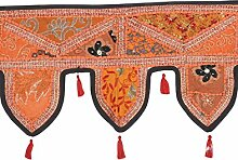 Rajrang - handarbeit gefertigt - Türaufhänger, Türdekoration - zum aufhängen - Handarbeit Baumwolle schwarz Toran