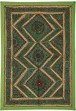 Rajrang Handgemachte Wandbehang Handarbeit Baumwolle grün Wandbehang, Wanddeko Dekoration