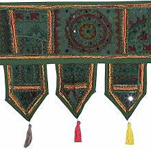 Rajrang Handgemachtes Grün Baumwolle Patchwork Spiegel arbeiten Door Hanging