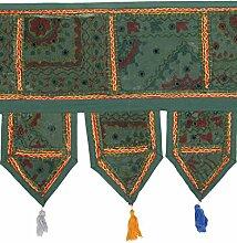 Rajrang Klassiker Grün Baumwolle Blumen Spiegel arbeiten Door Hanging Dekor
