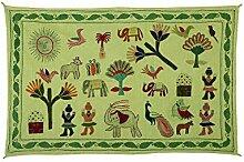 Rajrang Online Tapestry gestickte Green Baumwolle Wandbehang für Schlafzimmer